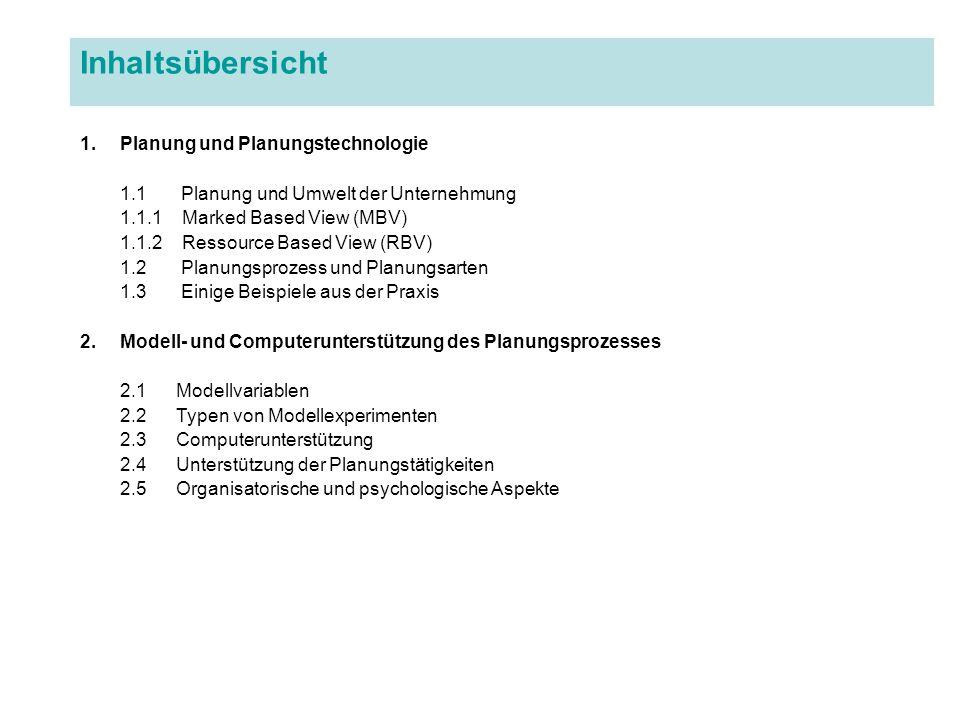 Inhaltsübersicht 1.Planung und Planungstechnologie 1.1 Planung und Umwelt der Unternehmung 1.1.1 Marked Based View (MBV) 1.1.2 Ressource Based View (R