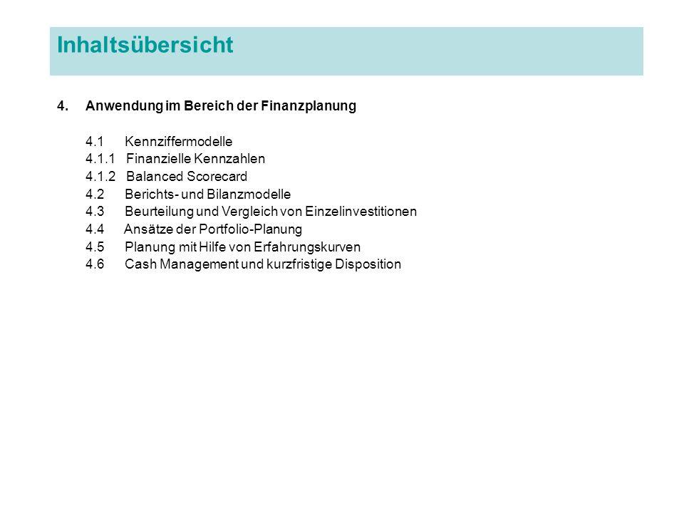 Inhaltsübersicht 4.Anwendung im Bereich der Finanzplanung 4.1 Kennziffermodelle 4.1.1 Finanzielle Kennzahlen 4.1.2 Balanced Scorecard 4.2 Berichts- un