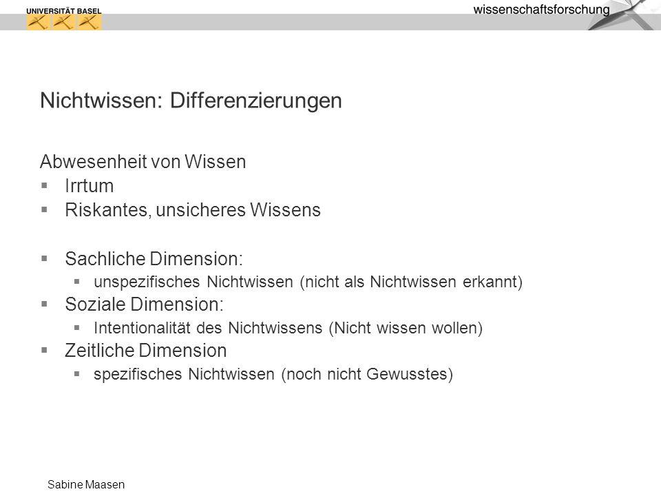 Sabine Maasen Nichtwissen: Differenzierungen Abwesenheit von Wissen Irrtum Riskantes, unsicheres Wissens Sachliche Dimension: unspezifisches Nichtwiss