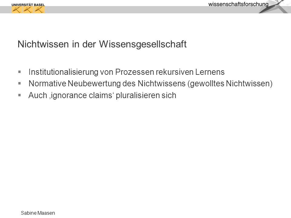 Sabine Maasen Nichtwissen in der Wissensgesellschaft Institutionalisierung von Prozessen rekursiven Lernens Normative Neubewertung des Nichtwissens (g
