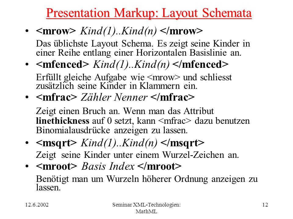 12.6.2002Seminar XML-Technologien: MathML 12 Presentation Markup: Layout Schemata Kind(1)..Kind(n) Das üblichste Layout Schema. Es zeigt seine Kinder