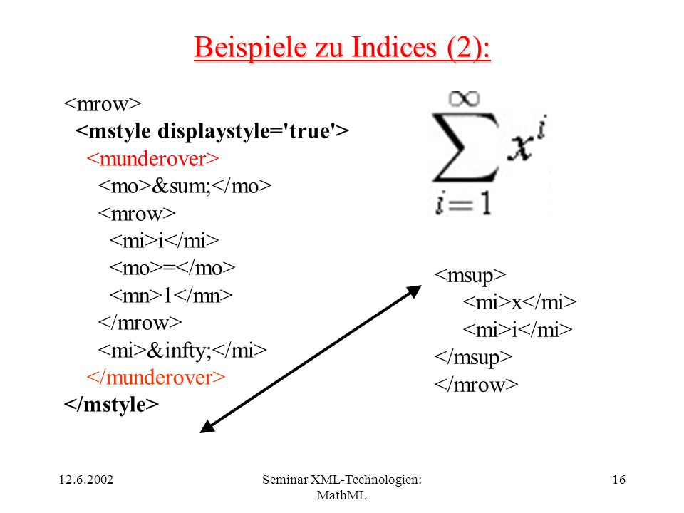 12.6.2002Seminar XML-Technologien: MathML 16 Beispiele zu Indices (2): ∑ i = 1 &infty; x i