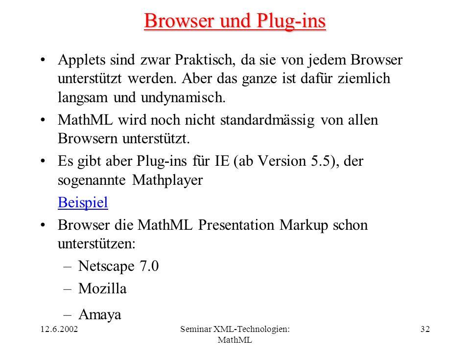 12.6.2002Seminar XML-Technologien: MathML 32 Browser und Plug-ins Applets sind zwar Praktisch, da sie von jedem Browser unterstützt werden. Aber das g