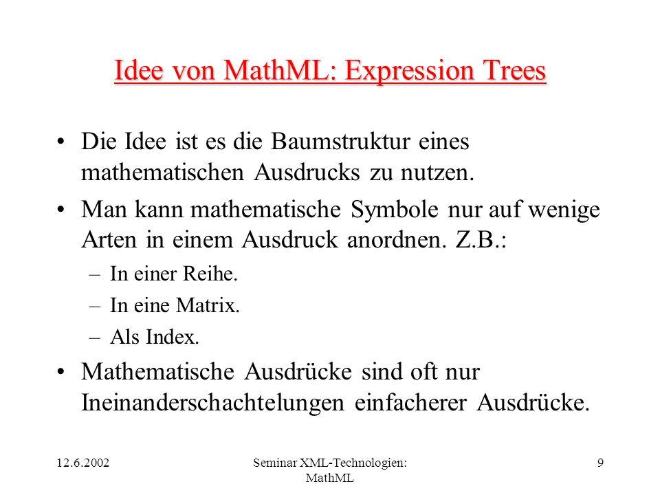 12.6.2002Seminar XML-Technologien: MathML 9 Idee von MathML: Expression Trees Die Idee ist es die Baumstruktur eines mathematischen Ausdrucks zu nutze