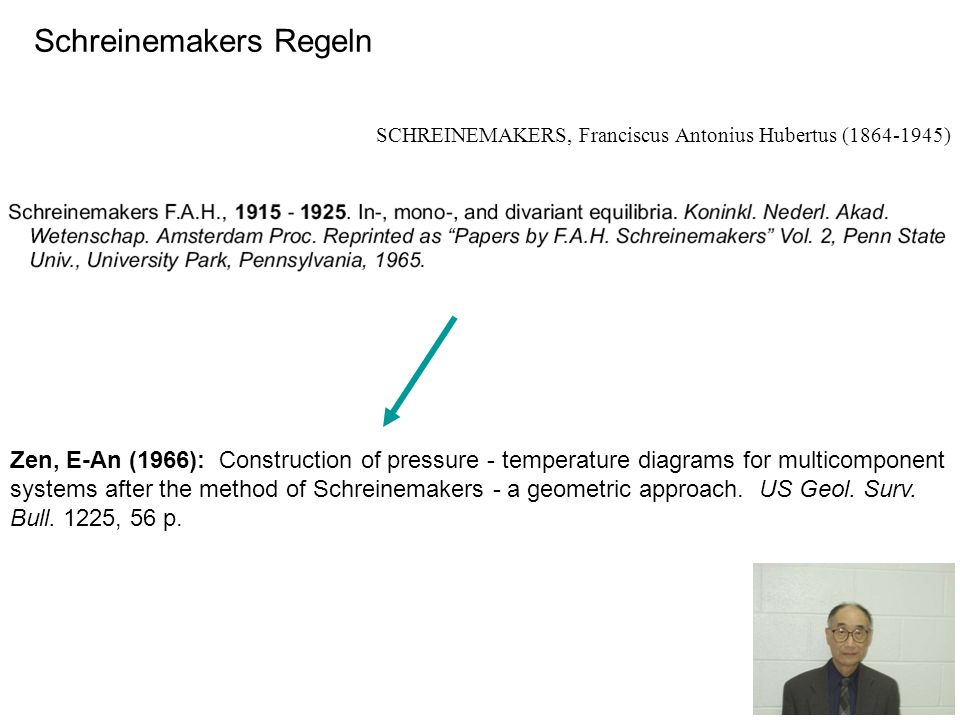 Schreinemakers Regeln SCHREINEMAKERS, Franciscus Antonius Hubertus (1864-1945) Zen, E-An (1966): Construction of pressure - temperature diagrams for m