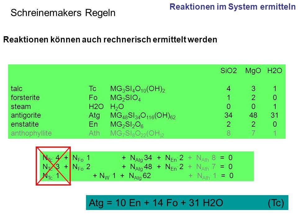 SiO2MgOH2O talc TcMG 3 SI 4 O 10 (OH) 2 431 forsterite FoMG 2 SIO 4 120 steam H2OH 2 O001 antigorite AtgMG 48 SI 34 O 116 (OH) 62 344831 enstatite EnM
