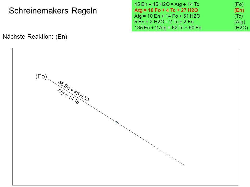 Nächste Reaktion: (En) Schreinemakers Regeln 45 En + 45 H2O = Atg + 14 Tc(Fo) Atg = 18 Fo + 4 Tc + 27 H2O (En) Atg = 10 En + 14 Fo + 31 H2O (Tc) 5 En
