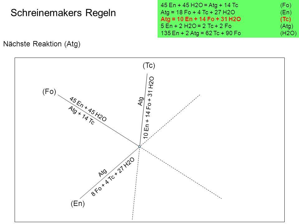 Nächste Reaktion (Atg) Schreinemakers Regeln 45 En + 45 H2O = Atg + 14 Tc(Fo) Atg = 18 Fo + 4 Tc + 27 H2O (En) Atg = 10 En + 14 Fo + 31 H2O (Tc) 5 En