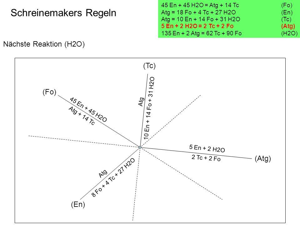Nächste Reaktion (H2O) Schreinemakers Regeln 45 En + 45 H2O = Atg + 14 Tc(Fo) Atg = 18 Fo + 4 Tc + 27 H2O (En) Atg = 10 En + 14 Fo + 31 H2O (Tc) 5 En