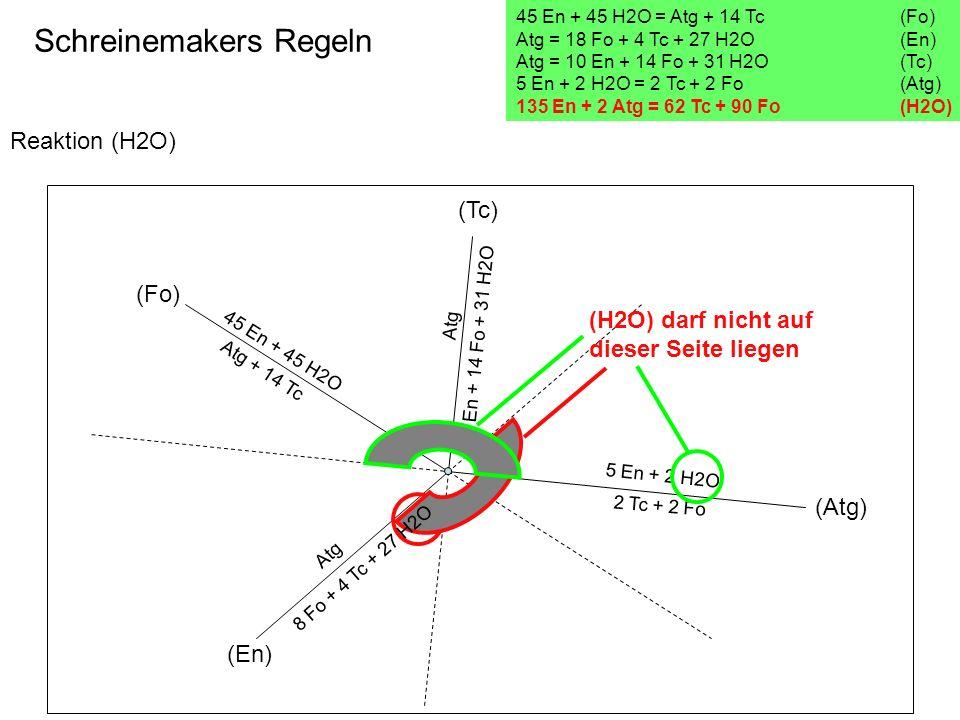Reaktion (H2O) Schreinemakers Regeln 45 En + 45 H2O = Atg + 14 Tc(Fo) Atg = 18 Fo + 4 Tc + 27 H2O (En) Atg = 10 En + 14 Fo + 31 H2O (Tc) 5 En + 2 H2O