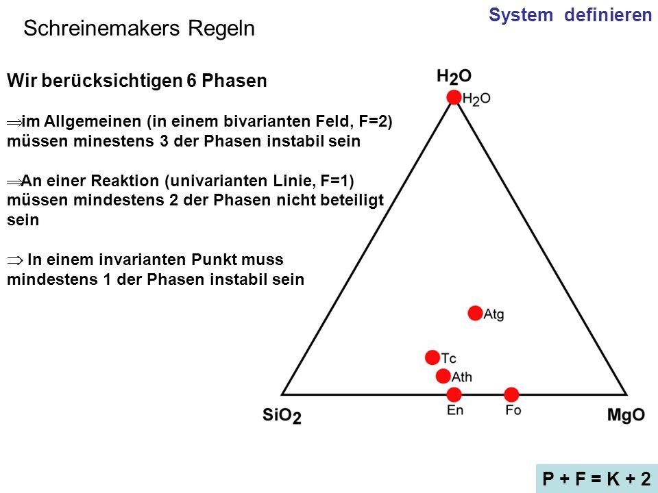 Schreinemakers Regeln System definieren P + F = K + 2 Wir berücksichtigen 6 Phasen im Allgemeinen (in einem bivarianten Feld, F=2) müssen minestens 3