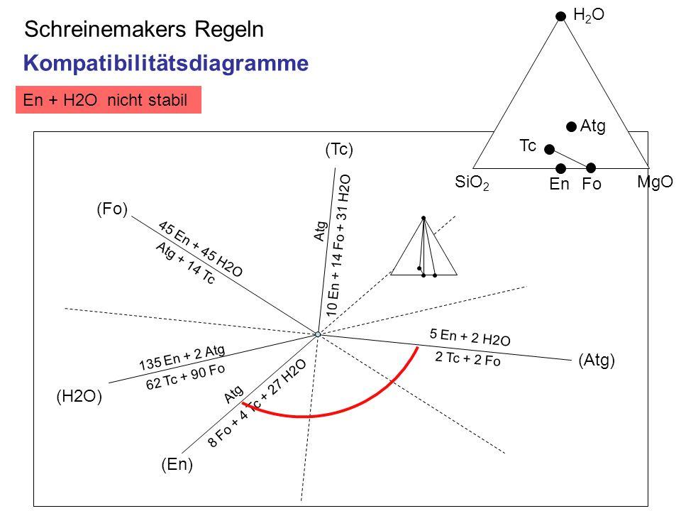 Schreinemakers Regeln 45 En + 45 H2O Atg + 14 Tc (Fo) (En) Atg (Tc) (Atg) 5 En + 2 H2O 2 Tc + 2 Fo 8 Fo + 4 Tc + 27 H2O (H2O) 135 En + 2 Atg 62 Tc + 9