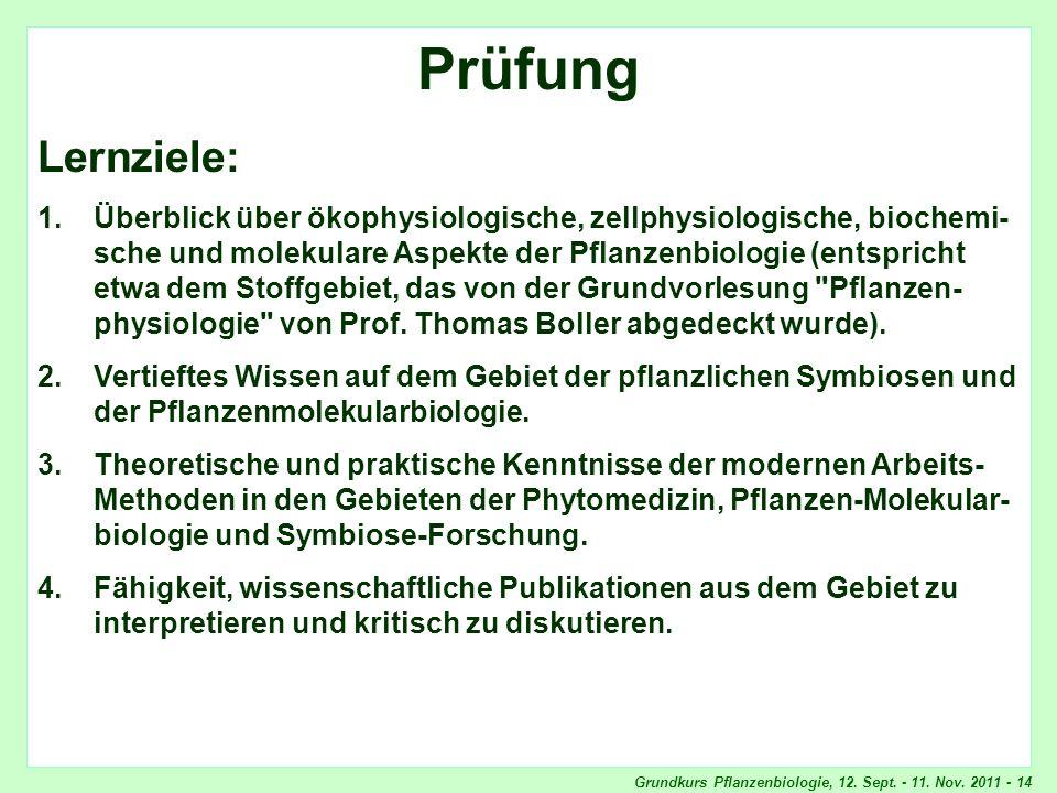 Grundkurs Pflanzenbiologie, 12. Sept. - 11. Nov. 2011 - 14 Prüfung Lernziele: 1.Überblick über ökophysiologische, zellphysiologische, biochemi- sche u