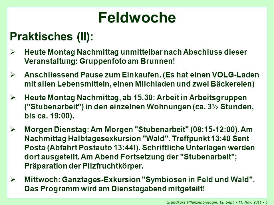 Grundkurs Pflanzenbiologie, 12. Sept. - 11. Nov. 2011 - 6 Feldwoche, Praktisches Feldwoche Praktisches (II): Heute Montag Nachmittag unmittelbar nach