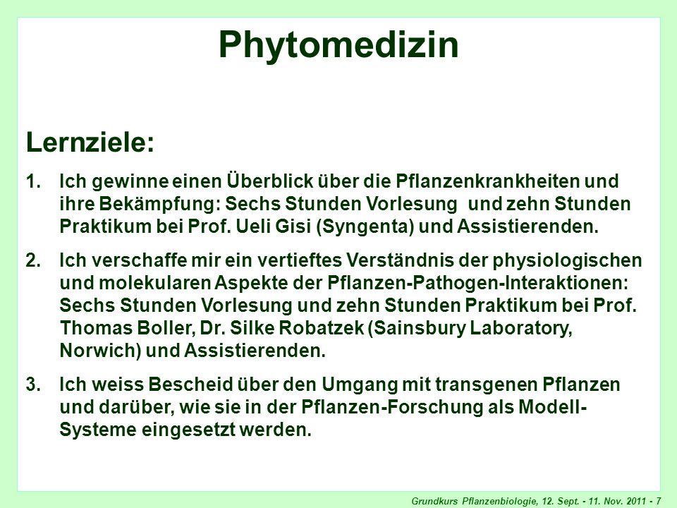 Grundkurs Pflanzenbiologie, 12. Sept. - 11. Nov. 2011 - 7 Phytomedizin, Lernziele Phytomedizin Lernziele: 1.Ich gewinne einen Überblick über die Pflan