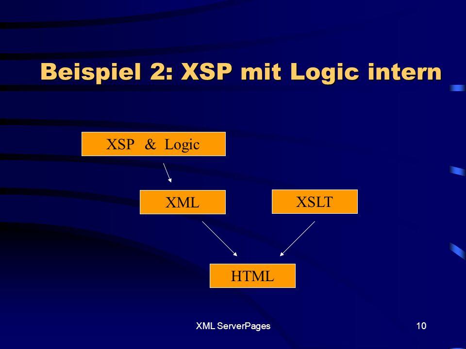 XML ServerPages9 Beispiel 1 mit ASP <% seitenTeil = Dieser Abschnitt wird am Anfang im XSP-File generiet aber erst am Schluss aufgerufen seitenTeil = seitenTeil & Datum: & Date() %> Beispiel1 Beispiel1