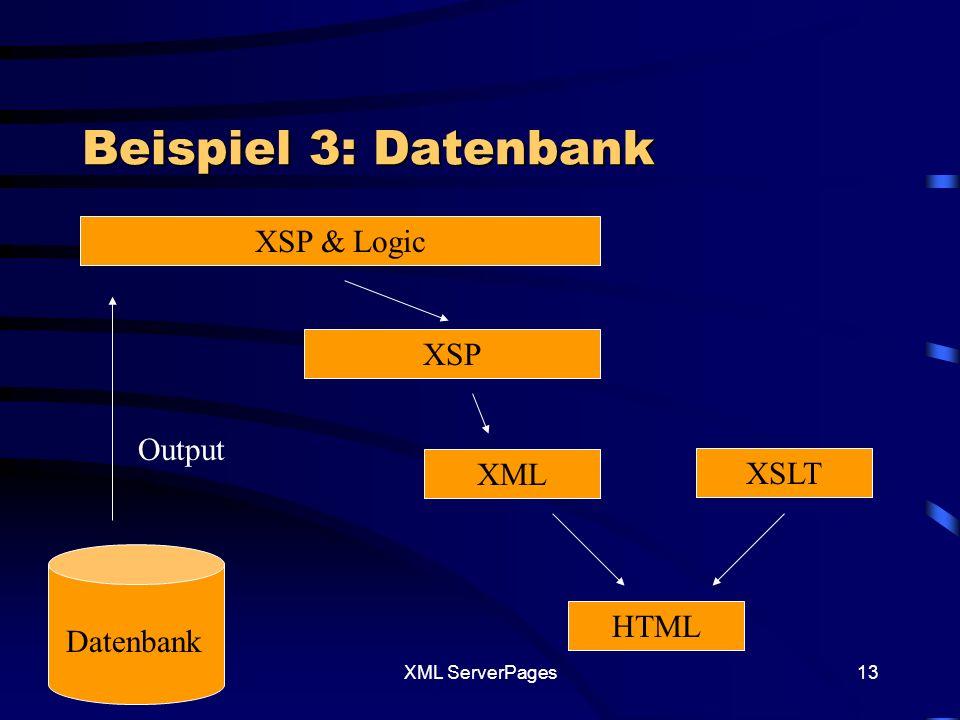 XML ServerPages12 Was ist zu beachten XSP-File – und Element Die dienen dazu zusätzliche Java Klassen in das XSP-File einzubetten.