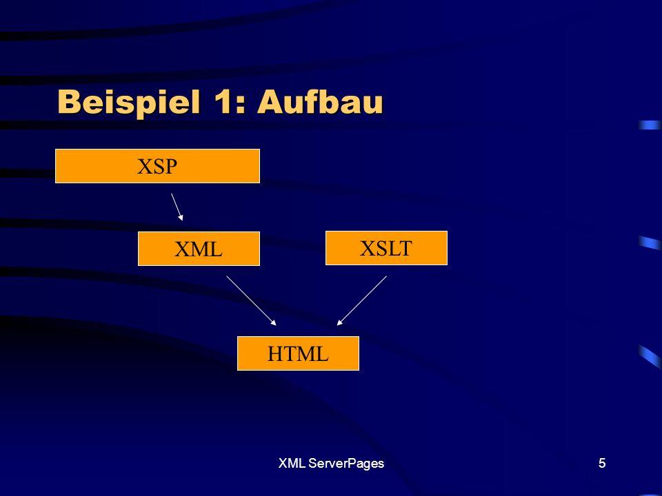 XML ServerPages15 Was ist zu beachten XSP-File –Elemente-Tag dient zur dynamischen Generierung von Elementen.