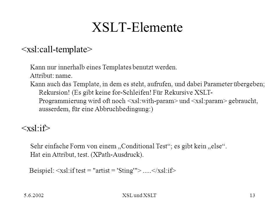 5.6.2002XSL und XSLT13 XSLT-Elemente Kann nur innerhalb eines Templates benutzt werden.