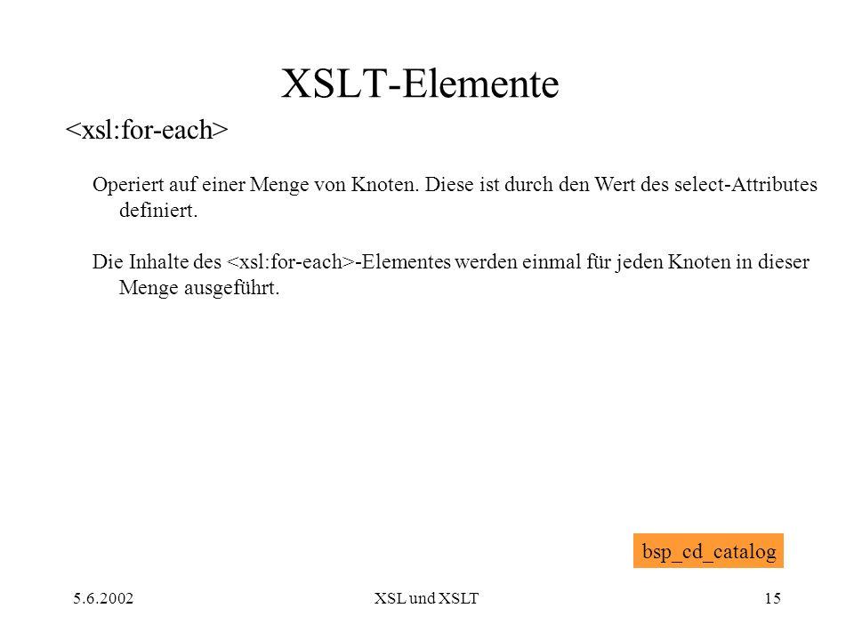 5.6.2002XSL und XSLT15 XSLT-Elemente Operiert auf einer Menge von Knoten.