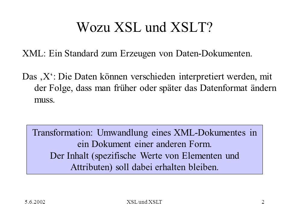 5.6.2002XSL und XSLT3 XSL-Überblick XSL Umfasst drei Technologien: XPath XSLT XSL-FO Heute Am 26.6.