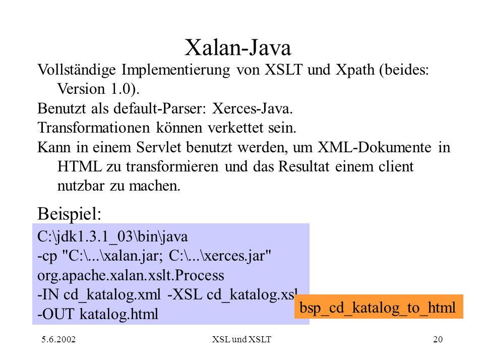 """Pr�sentation """"5.6.2002XSL und XSLT1 eXstensible Stylesheet ..."""