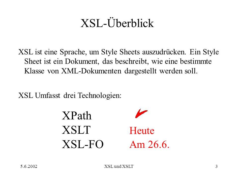 5.6.2002XSL und XSLT14 XSLT-Elemente Wird gebraucht, wenn wir einen Wert oder ein Attribut aus einem Knoten auslesen wollen.