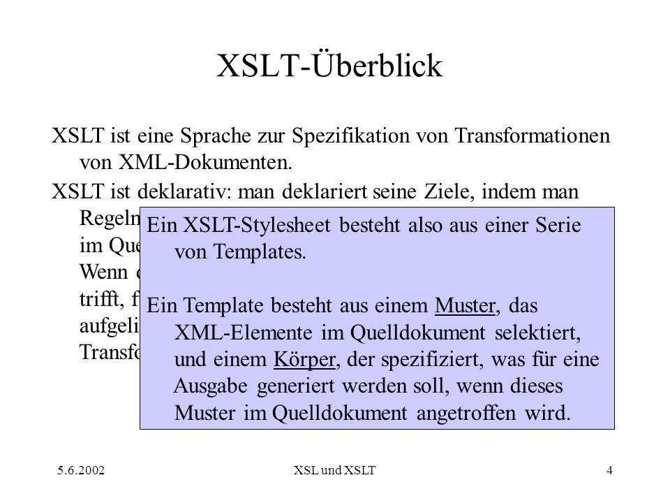 5.6.2002XSL und XSLT4 XSLT-Überblick XSLT ist eine Sprache zur Spezifikation von Transformationen von XML-Dokumenten.