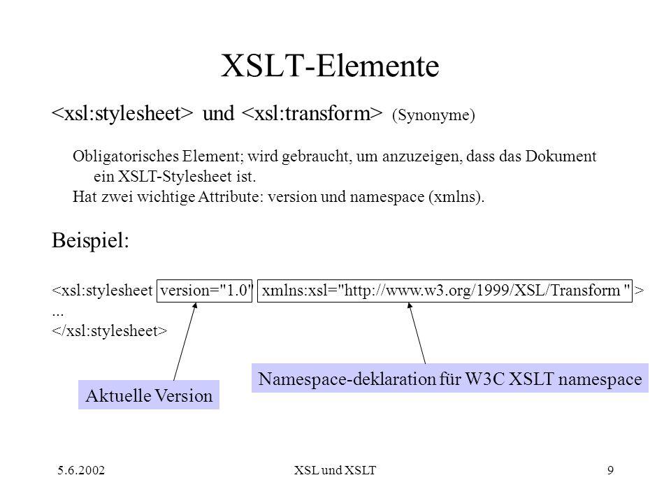 5.6.2002XSL und XSLT9 XSLT-Elemente und (Synonyme) Obligatorisches Element; wird gebraucht, um anzuzeigen, dass das Dokument ein XSLT-Stylesheet ist.