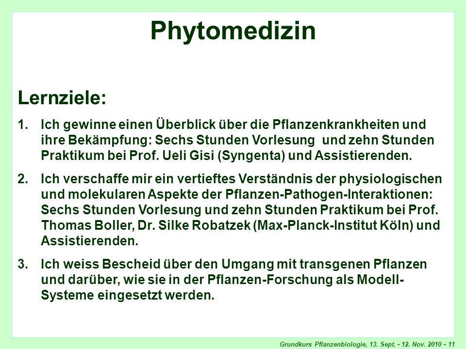 Grundkurs Pflanzenbiologie, 13. Sept. - 12. Nov. 2010 - 11 Phytomedizin, Lernziele Phytomedizin Lernziele: 1.Ich gewinne einen Überblick über die Pfla