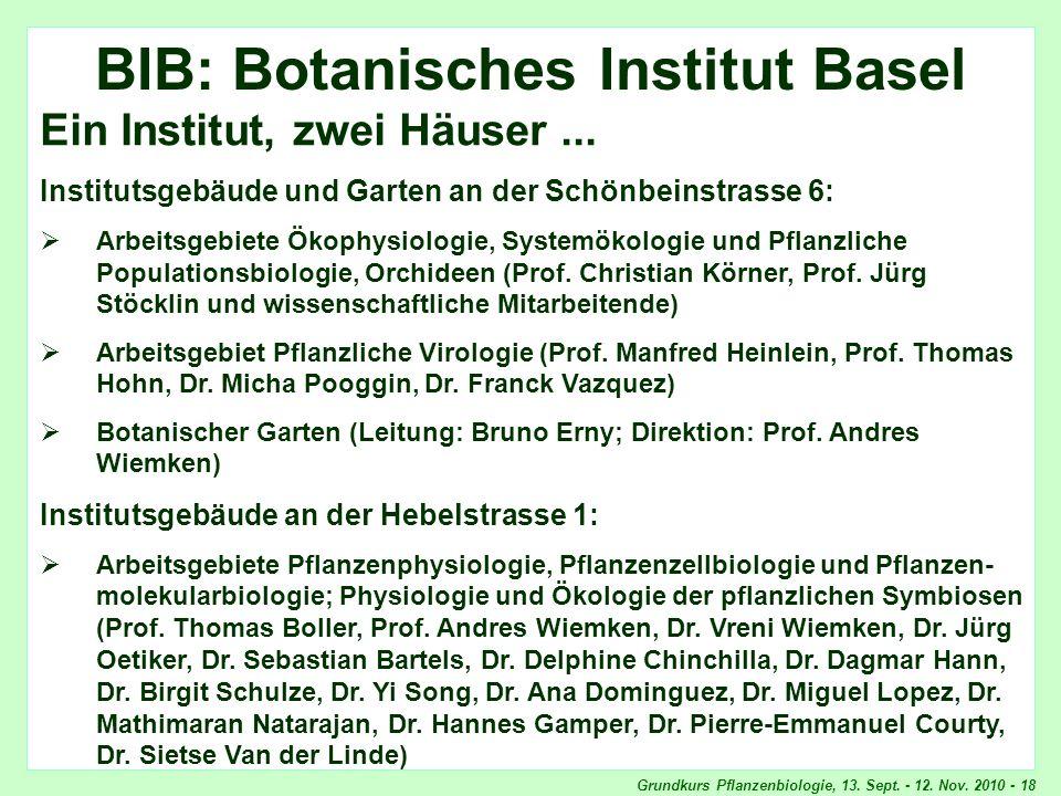 Grundkurs Pflanzenbiologie, 13. Sept. - 12. Nov. 2010 - 18 BIB BIB: Botanisches Institut Basel Ein Institut, zwei Häuser... Institutsgebäude und Garte