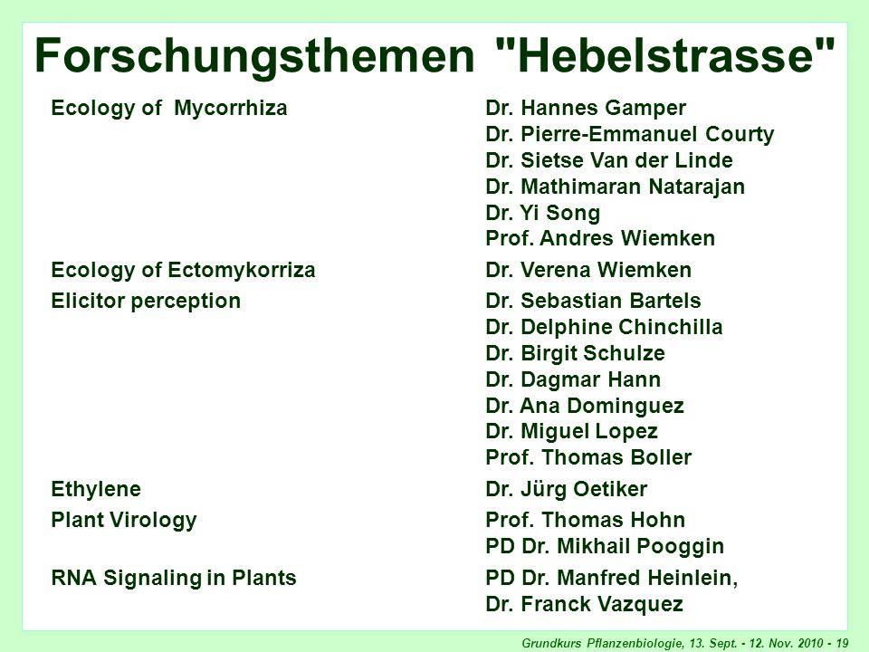 Grundkurs Pflanzenbiologie, 13. Sept. - 12. Nov. 2010 - 19 BIB Forschungsthemen
