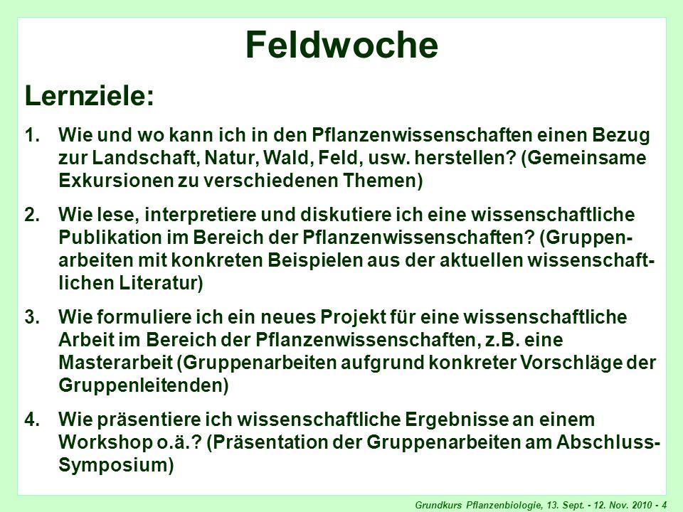 Grundkurs Pflanzenbiologie, 13.Sept. - 12. Nov.