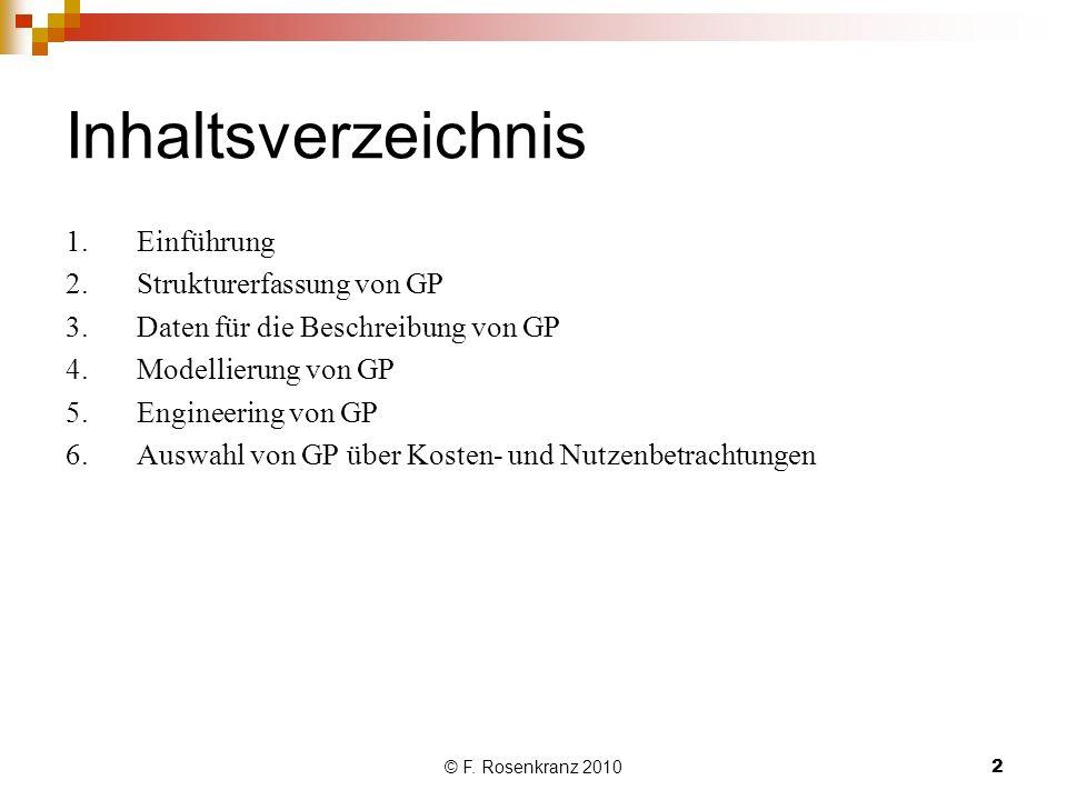 © F. Rosenkranz 20102 Inhaltsverzeichnis 1.Einführung 2.Strukturerfassung von GP 3.Daten für die Beschreibung von GP 4.Modellierung von GP 5.Engineeri