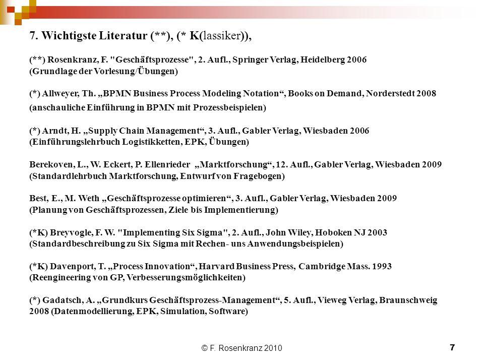 © F.Rosenkranz 20107 7. Wichtigste Literatur (**), (* K(lassiker)), (**) Rosenkranz, F.