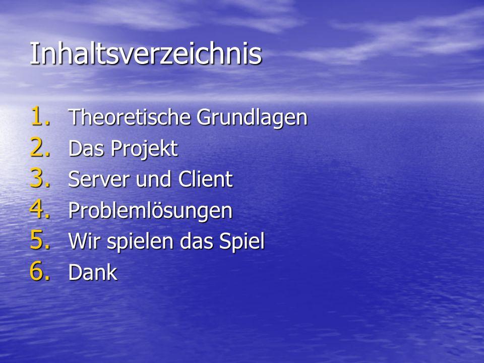 Inhaltsverzeichnis 1. Theoretische Grundlagen 2. Das Projekt 3. Server und Client 4. Problemlösungen 5. Wir spielen das Spiel 6. Dank