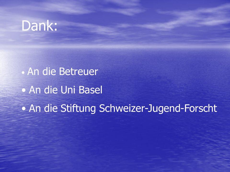 Dank: An die Betreuer An die Uni Basel An die Stiftung Schweizer-Jugend-Forscht