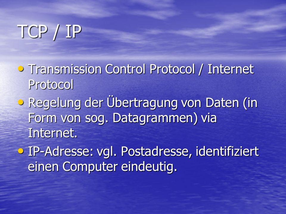 TCP / IP Transmission Control Protocol / Internet Protocol Transmission Control Protocol / Internet Protocol Regelung der Übertragung von Daten (in Fo