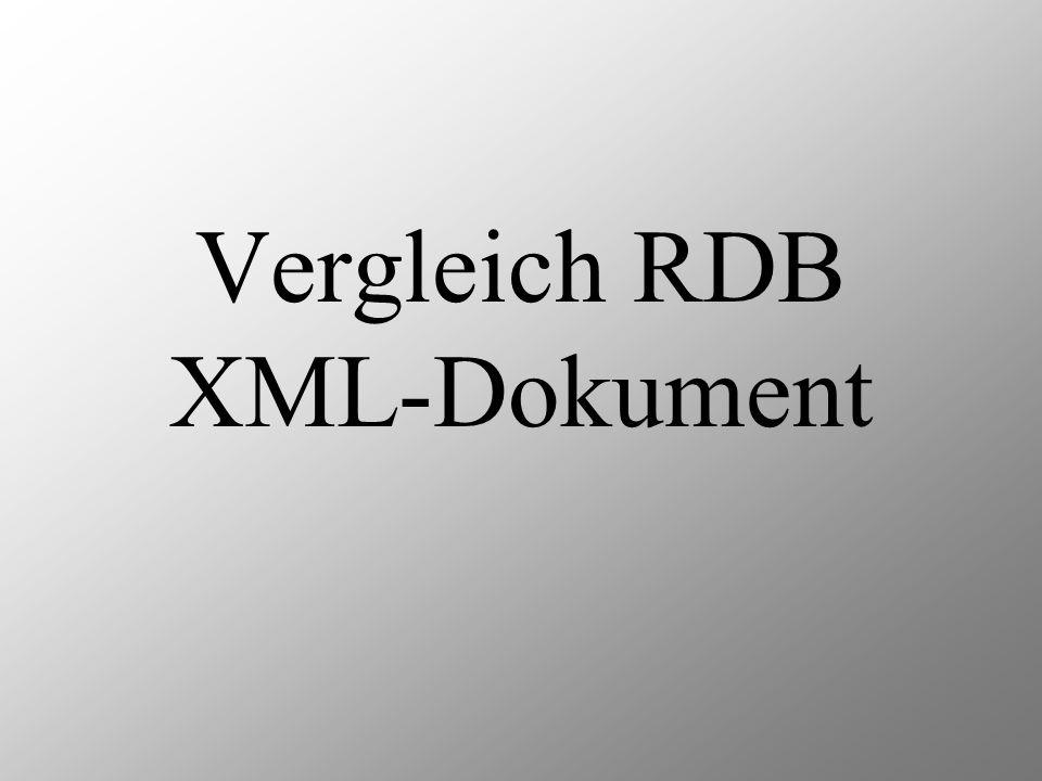 Vergleich RDB XML-Dokument