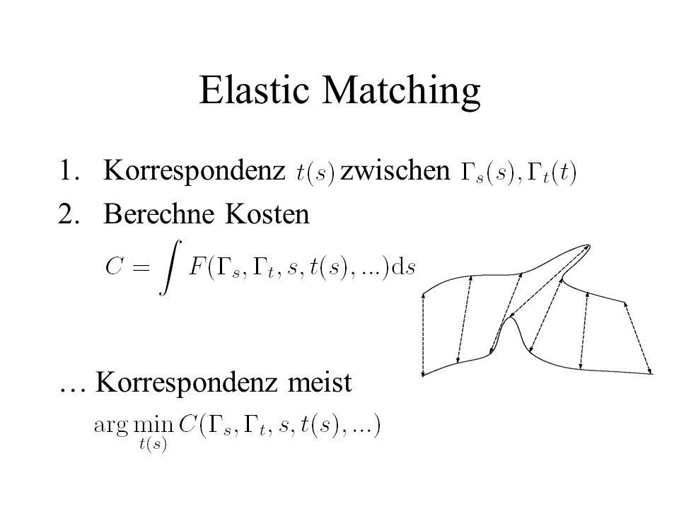 Elastic Matching 1.Korrespondenz zwischen 2.Berechne Kosten … Korrespondenz meist