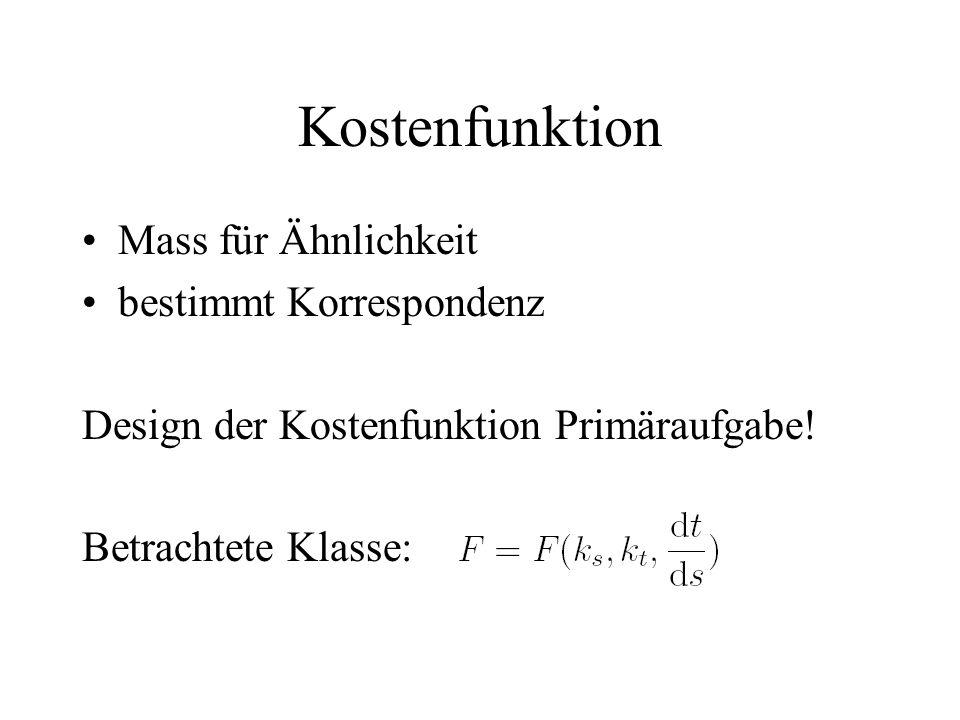 Kostenfunktion Mass für Ähnlichkeit bestimmt Korrespondenz Design der Kostenfunktion Primäraufgabe.