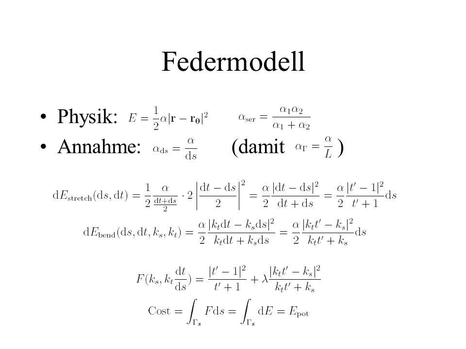 Federmodell Physik: Annahme: (damit )