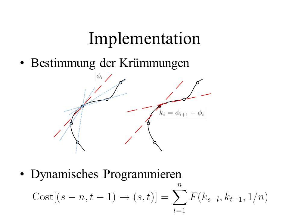 Implementation Bestimmung der Krümmungen Dynamisches Programmieren
