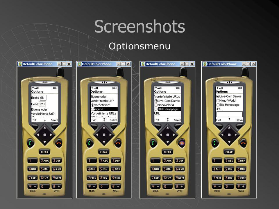 Screenshots Optionsmenu