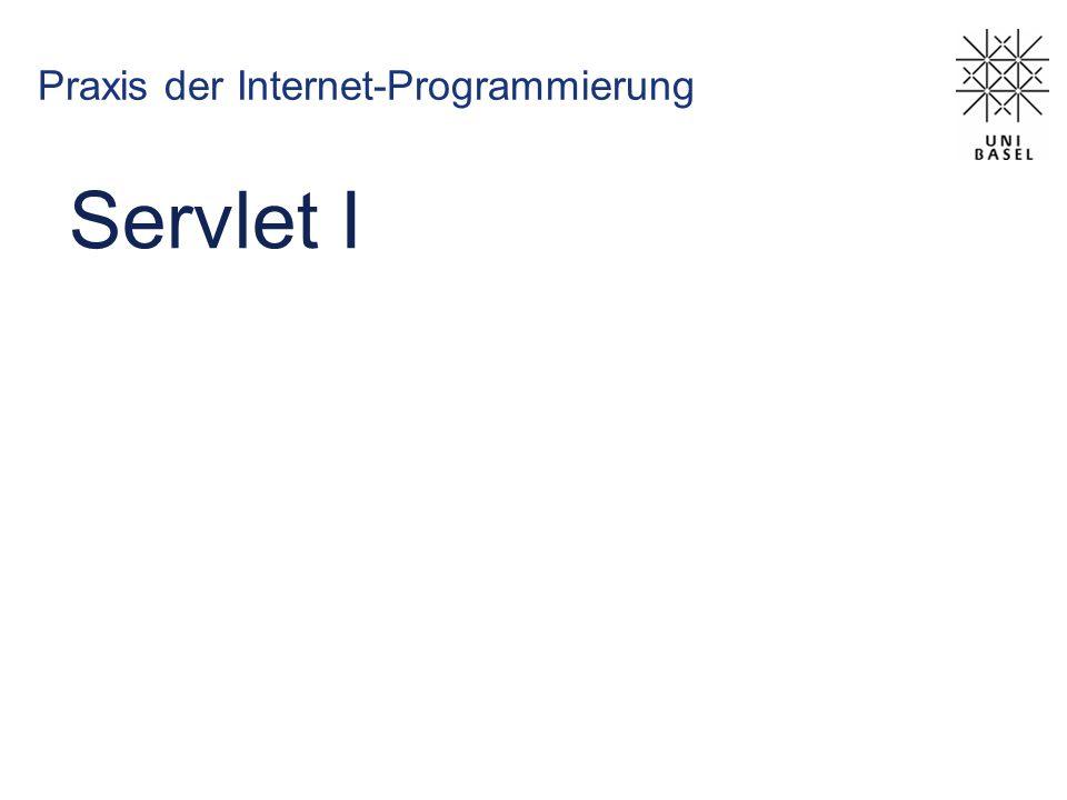 Lebenszyklus eines Servlet Laden der Servlet-Klasse Erzeugen einer Instanz Ausführen der init() -Methode prüfen auf neuere Version des *.class -Files: allenfalls neu laden Ausführen der Methode service() z.B.