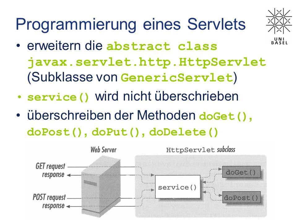 Programmierung eines Servlets erweitern die abstract class javax.servlet.http.HttpServlet (Subklasse von GenericServlet ) service() wird nicht übersch