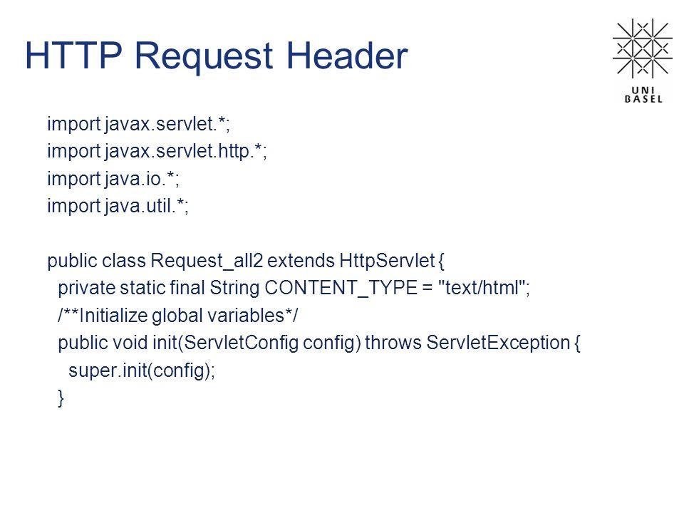 HTTP Request Header import javax.servlet.*; import javax.servlet.http.*; import java.io.*; import java.util.*; public class Request_all2 extends HttpS