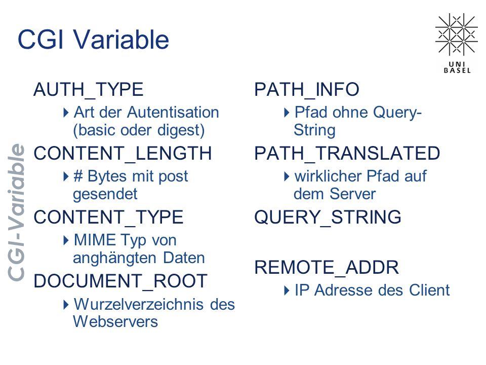 CGI Variable AUTH_TYPE Art der Autentisation (basic oder digest) CONTENT_LENGTH # Bytes mit post gesendet CONTENT_TYPE MIME Typ von anghängten Daten D