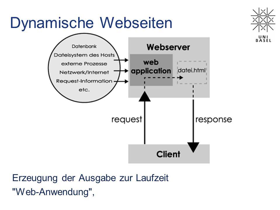 Server-seitige Technologien Common Gateway Interface (CGI) Ausführung in einem Webserver-externen Prozess kein Zugriff auf Ressourcen des Webservers je ein eigener Prozess pro Anfrage beliebige Sprachen möglich (C/C++, Perl, Java, …) Interpretiert / kompiliert