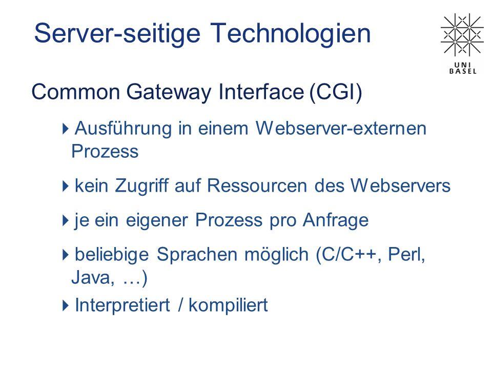 Server-seitige Technologien Server-seitige Skripte Serverside JavaScript SSJS (Netscape) Active ServerPages ASP (Microsoft) Hypertext Preprocessor PHP (Apache) JavaServer Pages JSP (Sun)